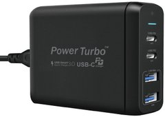 Зарядное устройство WIWU Power Turbo 4in1 60W (2xType-C PD/2xUSB) - Black, цена | Фото