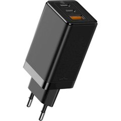 Зарядное устройство Baseus GaN2 Quick Charger 65W (2 Type-C + 1 USB) - Black (CCGAN2P-B01), цена | Фото