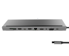Переходник для MacBook ZAMAX 11in1 (2xPD/2xUSB/4K HDMI/VGA/3.5mm/RJ45/SD/mSD) - Gray, цена | Фото