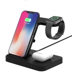 Беспроводное зарядное устройство STR W27 5in1 Wireless Charger for iPhone/Watch/AirPods or Samsung Galaxy/Galaxy Watch/Galaxy Buds - Black, цена | Фото
