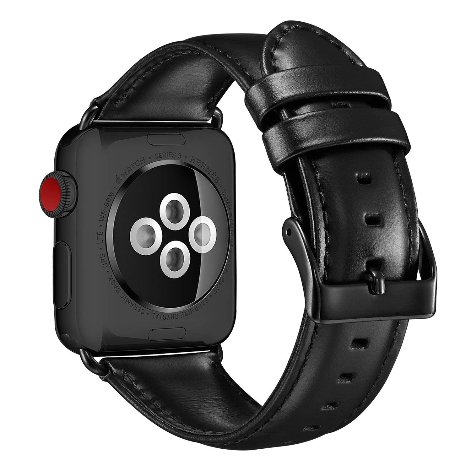 Ремешок STR Crazy Horse Retro Style Leather Band for Apple Watch 42/44 mm - Black