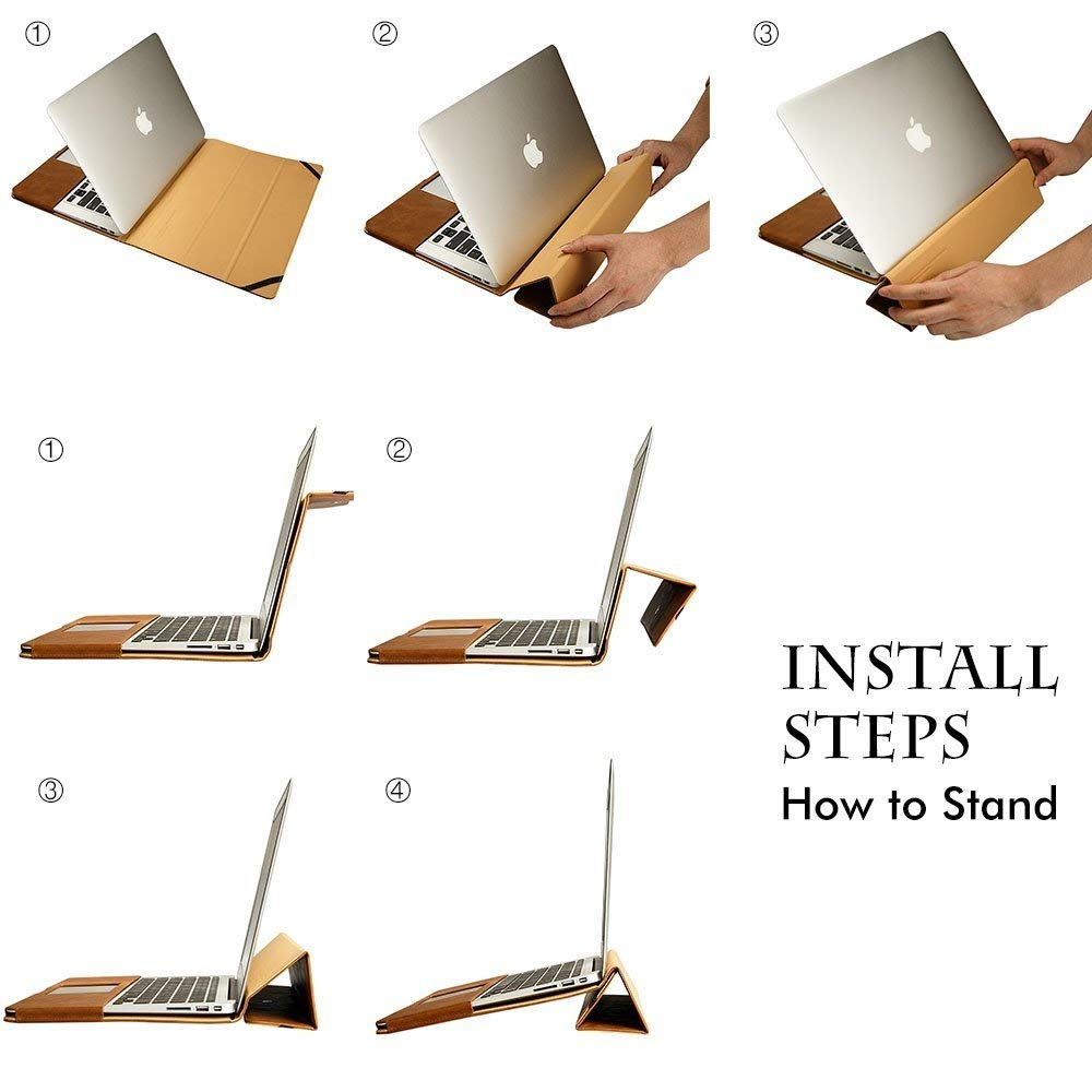 Чехол JisonCase Leather Stand for MacBook Pro 13 (2016-2018) - Brown (JS-PRO-13R60)