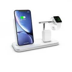 Док-станція Zens Stand + Dock + Watch Aluminium Wireless Charger 10W White (ZEDC07W/00), ціна | Фото