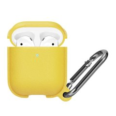 Силиконовый чехол STR Silicone Leather Case for AirPods 1/2 (yellow), цена | Фото