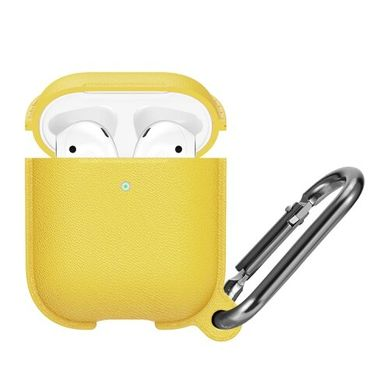 Чехол STR Silicone Leather Case for AirPods 1/2 (yellow), цена | Фото