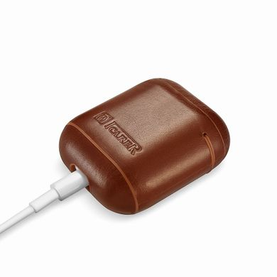 Чехол iCarer Vintage Leather Airpods Protective Case with LED Indicator Hole - Brown, цена | Фото