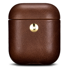 Шкіряний Чохол для AirPods iCarer Crazy Horse Leather Case - Coffee (IAP041-CF), ціна | Фото