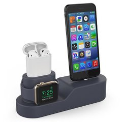 Силиконовая подставка AHASTYLE Silicone Stand 3 in 1 for Apple Watch, AirPods and iPhone - Navy Blue (AHA-01280-NBL), цена | Фото
