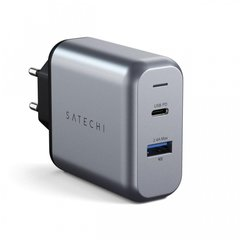 Зарядний пристрій Satechi 30W Dual-Port Wall Charger Space Gray (ST-MCCAM-EU), ціна | Фото