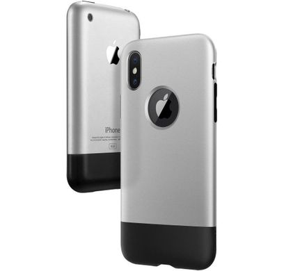 Чехол Spigen Classic One [10th Anniversary Limited Edition] for iPhone X - Aluminum Gray (057CS23345), цена | Фото