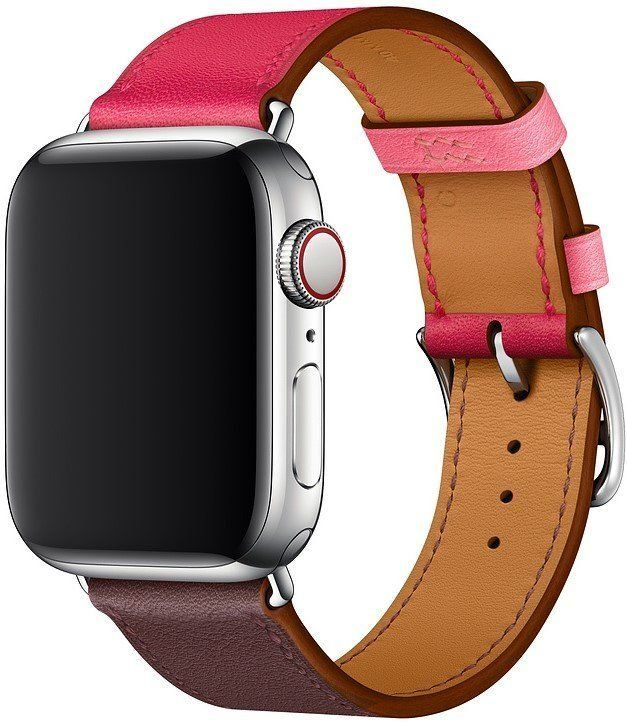 Ремешок STR Apple Watch Hermes - 38/40mm Bordeaux/Rose Extrême/Rose Azalée Swift Leather Single Tour