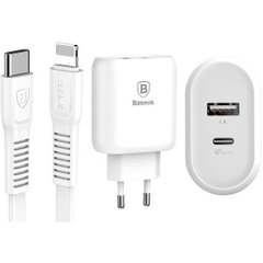 Зарядное устройство Baseus Bojure Series Quick Charge Type-C PD+U with Type-C to Lightning PD cable set EU 32W - White (TZTUN-BJ02), цена | Фото