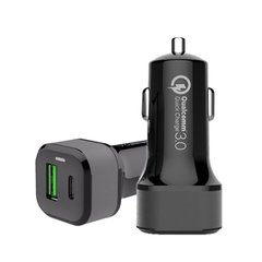 Автомобильное З/У JINYA Type-C PD/QC 3.0 Car Charger (USB-C/USB-A Quick Charge Ports) 42W Max - Black (JA5008), цена | Фото